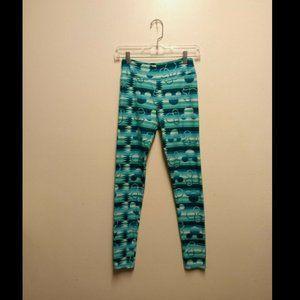 lularoe blue green teal striped disney leggings OS